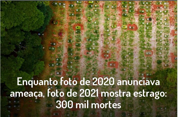 """Brasil já perdeu 300 mil vidas sob """"comando"""" de Bolsonaro."""
